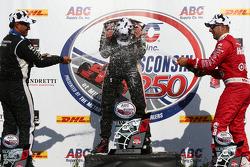 Race winner Will Power, second place Juan Pablo Montoya, third place Tony Kanaan