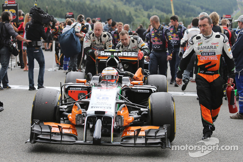 Sergio Perez, Sahara Force India F1 VJM07, in griglia