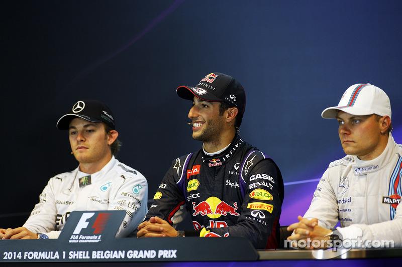 Conferenza stampa della FIA post gara, Nico Rosberg, Mercedes AMG F1, Daniel Ricciardo, Red Bull Racing, Valtteri Bottas, Williams