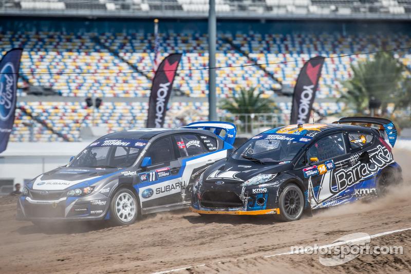 #11 Subaru Rally Team USA Subaru WRX STi: Sverre Isachsen, #14 Barracuda Racing Ford Fiesta ST: Aust
