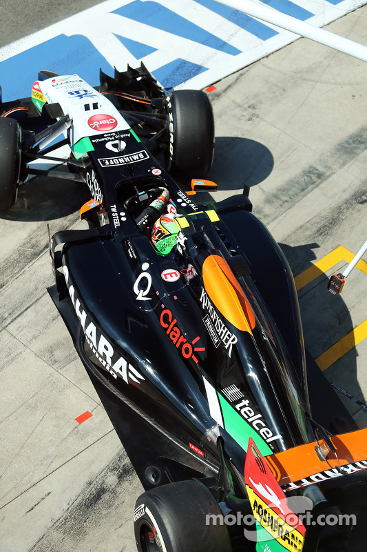 Sergio Perez, Sahara Force India F1 VJM07, lascia i box