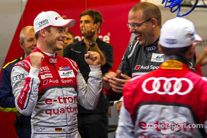 Andre Lotterer celebrates the Lone Star Le Mans victory with Chris Reinke
