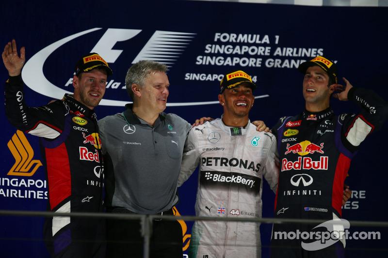 2014 : 1. Lewis Hamilton, 2. Sebastian Vettel, 3. Daniel Ricciardo
