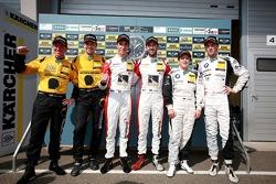 Vencedores da corrida Kelvin van der Linde, Rene Rast, segundo lugar Christian Engelhardt, Jaap van