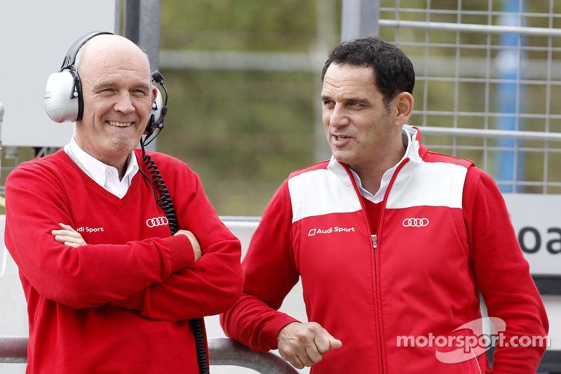 Dr. Wolfgang Ullrich, Audi's Head of Sport and Hans-Jurgen Abt, Teamchef Abt-Audi
