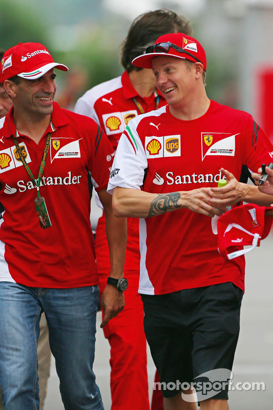 (L to R): Marc Gene, Ferrari Test Driver with Kimi Raikkonen, Ferrari