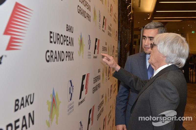 Azad Rahimov, Azerbaiyán Ministro de juventud y deporte, Bernie Ecclestone, CEO de Fórmula Uno