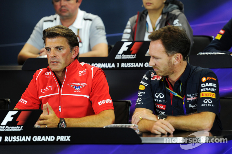 (L to R): Graeme Lowdon, Marussia F1 Team Chief Executive Officer and Christian Horner, Red Bull Rac