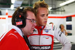 Max Chilton, Marussia F1 Team with Dave Greenwood, Marussia F1 Team Race Engineer