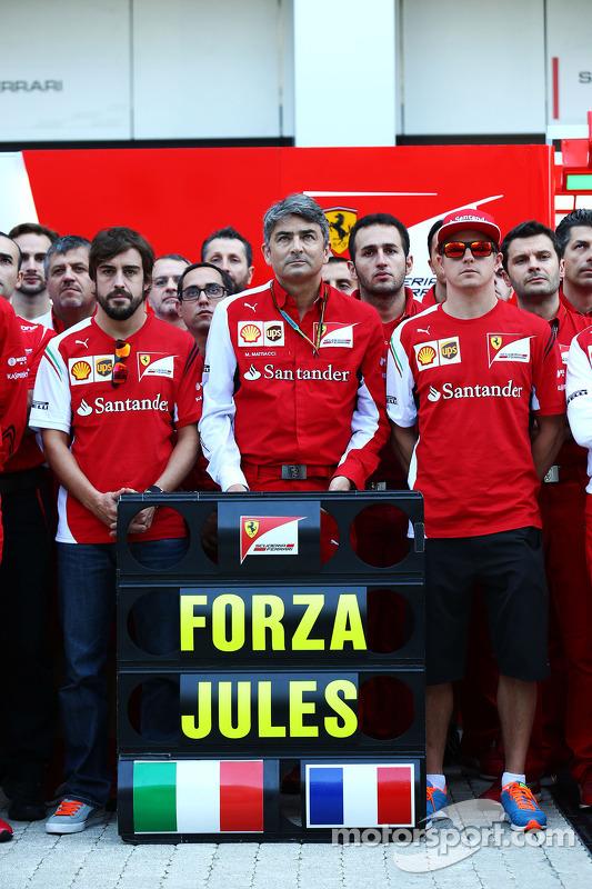 Fernando Alonso, Ferrari; Marco Mattiacci, Ferrari Takım Müdürü; Kimi Raikkonen, Ferrari ve Ferrari üyeleri ve Jules Bianchi'ye desteklerini iletiyorlar