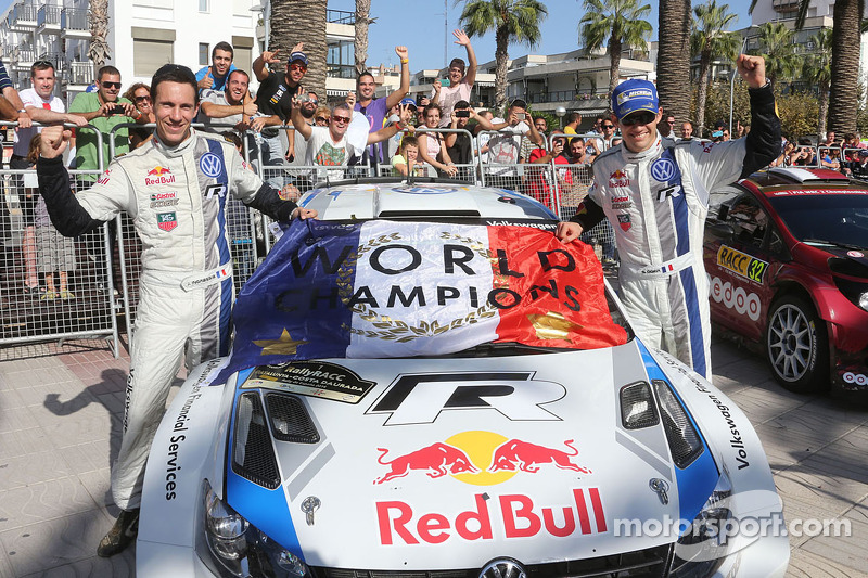 Vincitori e campioni 2014 WRC Sébastien Ogier e Julien Ingrassia, Volkswagen Polo WRC, Volkswagen Mo