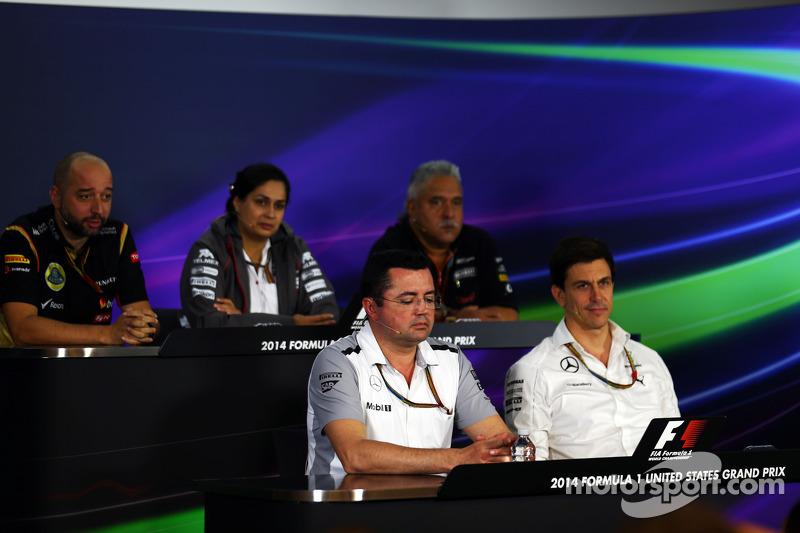 Gerard Lopez, Lotus F1 Team Principal; Monisha Kaltenborn, Sauber Team Principal; Dr. Vijay Mallya,