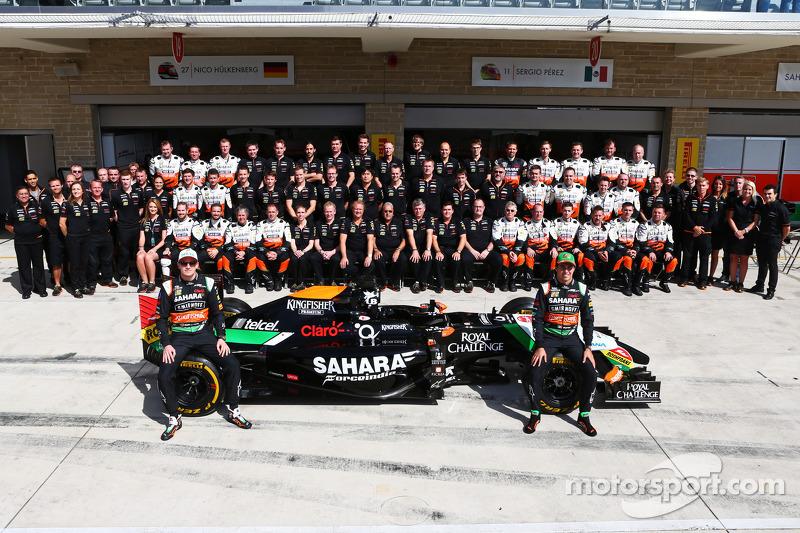 (L to R): Nico Hulkenberg, Sahara Force India F1 and Sergio Perez, Sahara Force India F1 at a team p