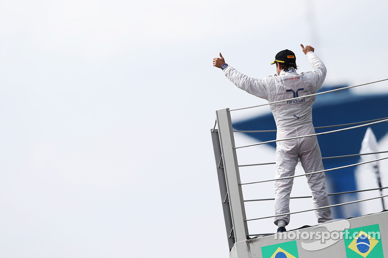 Felipe Massa, Williams celebrates his third position on the podium