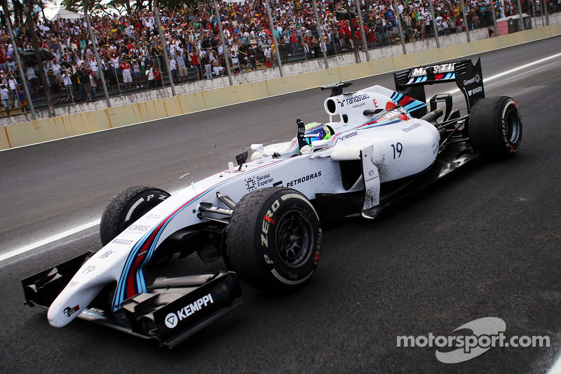 Felipe Massa, Williams FW36, celebra terceiro lugar no GP do Brasil
