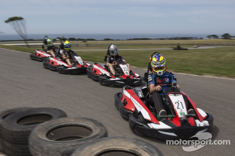 Drivers take part in a karting event on Philip Island