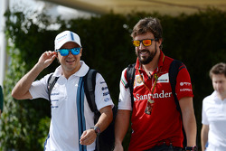 (I a D): Felipe Massa, Williams con Fernando Alonso, Ferrari