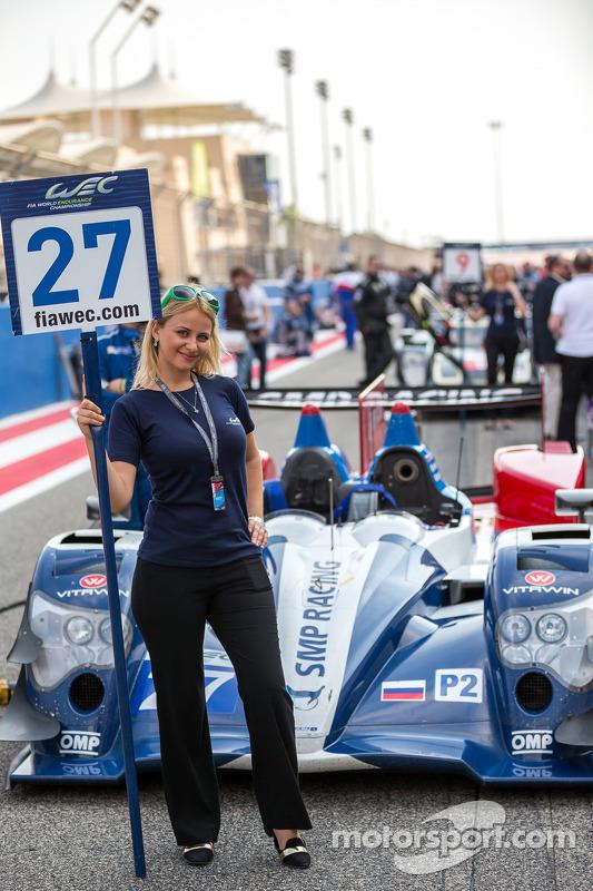Grid girl with the #27 SMP Racing Oreca 03R - Nissan: Sergey Zlobin, Nicolas Minassian, Maurizio Med