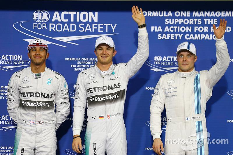 Pole para Nico Rosberg, Mercedes AMG F1 W05, 2do for Lewis Hamilton, Mercedes AMG F1 y 3ro for Valtt