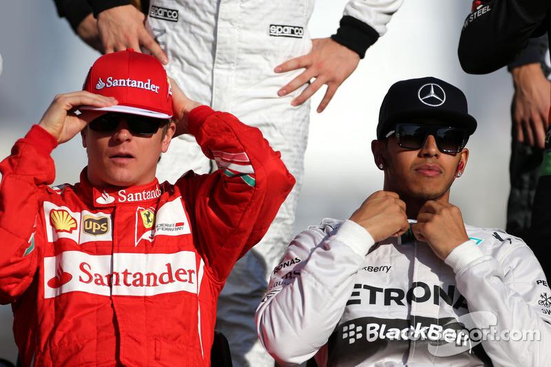 Kimi Raikkonen, Scuderia Ferrari und Lewis Hamilton, Mercedes AMG F1 Team