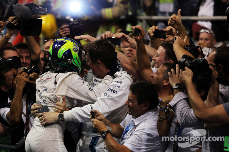 Felipe Massa, Williams celebrates his second position with the team in parc ferme