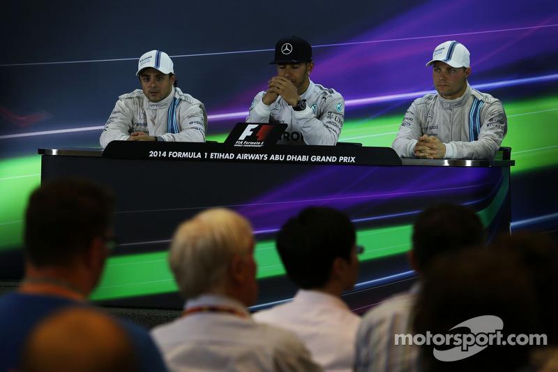 Conferenza stampa della FIA post gara: Felipe Massa, Williams, secondo; Lewis Hamilton, Mercedes AMG
