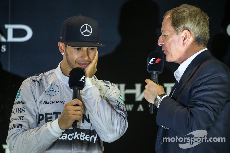 (L to R): race winner and World Champion Lewis Hamilton, Mercedes AMG F1 with Martin Brundle, Sky Sp