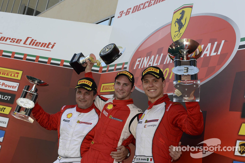 Ferrari Challenge Europe race 1 podium - Trofeo Pirelli PRO: winner Philipp Baron, second place Dario Caso, third place Daniele di Amato