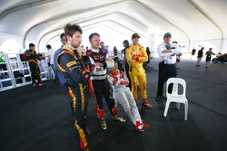 Romain Grosjean, pilota francese del Lotus F1 team, Petter Solberg, Tom Kristensen e Ryan Hunter-Reay
