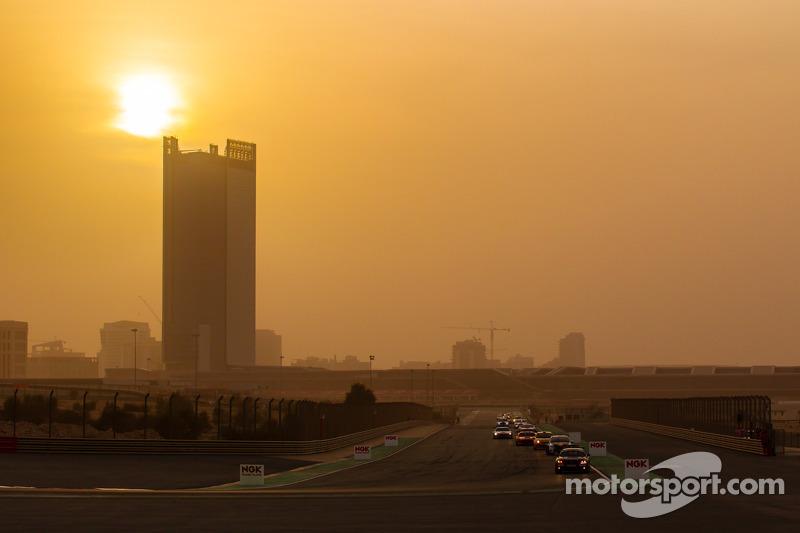 Race action as the sun sets