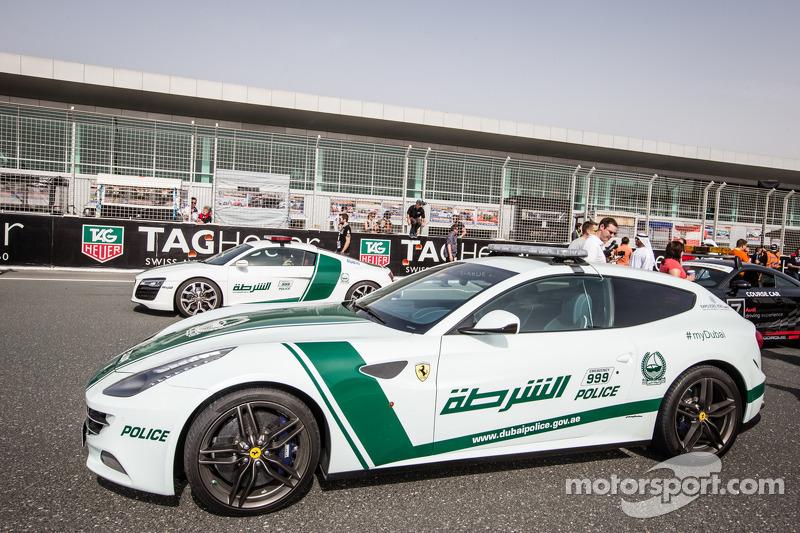 Dubai police exotic cars on display: a Ferrari FF