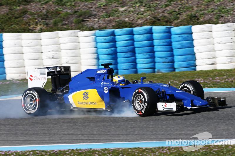 Маркус Ерікссон, Sauber C34 блокує колеса на гальмуванні