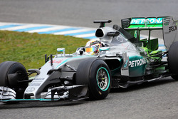 Lewis Hamilton, Mercedes AMG F1 W06, fährt mit Flow-Viz-Farbe