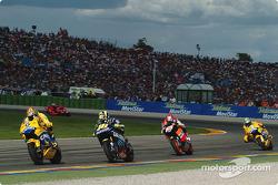 Makoto Tamada leads Valentino Rossi and Nicky Hayden
