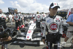 Takuma Sato on the starting grid