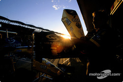 Sunset on Renault F1 pit area