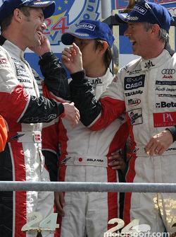 LM P1 podium: winners Tom Kristensen, Seiji Ara and Rinaldo Capello celebrate