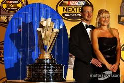 Nextel Cup champion Kurt Busch poses with girlfriend Eva Brayan