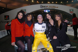 The Race of Champions 2004 winner Heikki Kovalainen in charming company