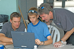 Travis Braun with two other engineers
