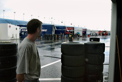 Intermittent rain delayed testing until early afternoon