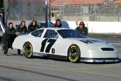 DeWalt crew members push the #17 Ford