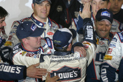 Victory lane: race winner Jimmie Johnson celebrates with his crew