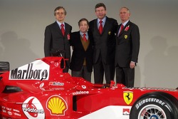 Paolo Martinelli, Jean Todt, Ross Brawn and Rory Byrne with the new Ferrrari F2005