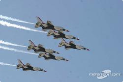 Thunderbirds fly by