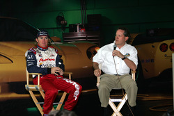 2004 Indianapolis 500 winner Buddy Rice, left, and IMS Radio Network Anchor Mike King