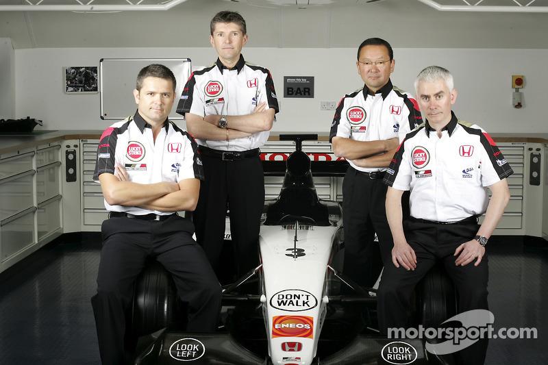 Gil de Ferran, BAR Honda Sporting Director, Nick Fry, BAR Honda Chiel Executive Officer, Yasuhiro Wada, President of Honda Racing Development, and Geoffrey Willis, BAR Honda Technical Director