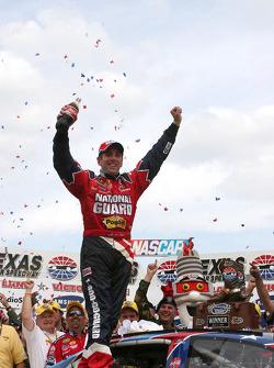 Victory lane: race winner Greg Biffle celebrates