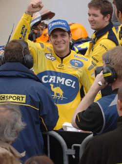 Race winner Alex Barros celebrates