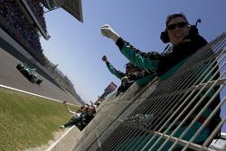 DAMS team cheer race winner Jose Maria Lopez